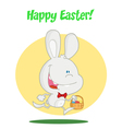 White Bunny With An Easter Basket vector image