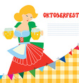 Banner for Oktoberfest with girl and beer vector image