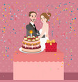 couple celebrating wedding anniversary party vector image