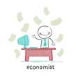 economist sitting at work vector image