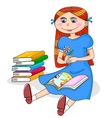 girl with books vector image