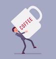 man carrying giant coffee mug vector image