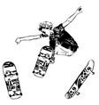 skateboarder jumping on white background skates vector image