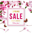 spring sale background with cherry blossom vector image