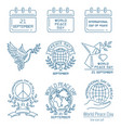 world peace day line icon set vector image