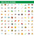 100 villa icons set cartoon style vector image
