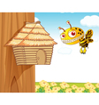 honey bee and wooden house vector image vector image