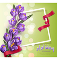 greeting card with blue crocuses vector image vector image