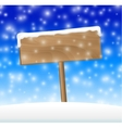 Sign on snow meadow with falling snow vector image vector image