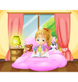 A girl writing inside her room vector image vector image