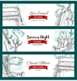 Music festival banners musical instruments sketch vector image vector image