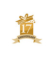 17 years gift box ribbon anniversary vector image