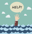Drowning businessman in sea vector image