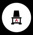 fireplace with red flame simple black icon eps10 vector image