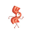 funny bacon slice cartoon fast food character vector image