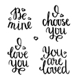 Valentine lettering phrases vector image