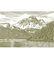 Woodcut Landscape with Mountain vector image