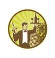 Waiter Serving Wine Grapes Barrel Retro vector image