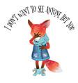 cartton fox card vector image