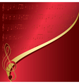 red background with musical notes vector image