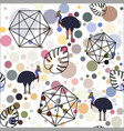 abstract background made of circles with birds vector image