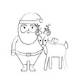 christmas happy santa claus and reindeer vector image