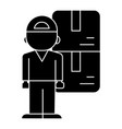 delivery man icon black sig vector image