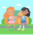 girls singing dancing in ring near cottage house vector image