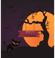 Happy Halloween Card Template Mix Moon and tree vector image
