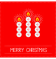 Merry Christmas candles button red vector image