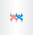 people dancing blue and red icon vector image