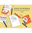 Set of items back to school on a yellow background vector image