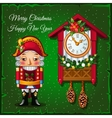 Toy soldiers and wall clock on a green background vector image