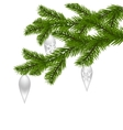 Two green realistic with New Year s toys spruce vector image