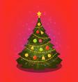 xmas tree christmas decorations vector image