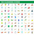 100 cleaning set cartoon style vector image