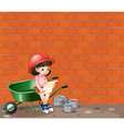 Girl working at the construction site vector image