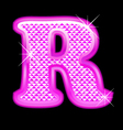 R letter pink bling girly vector image