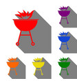 barbecue with fire sign set of red orange vector image
