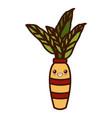decorative plant vase cute kawaii cartoon vector image