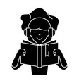 girl reading book in earphones icon vector image
