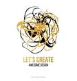 Golden hand-drawn design elements vector image