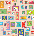 Seamless pattern with post stamps - funny childish vector image