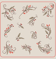 Set of Hand Drawn Christmas Decoration Mistletoe vector image