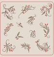 Set of Hand Drawn Christmas Decoration Mistletoe vector image