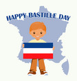 smiling child boy holding a france flag isolated vector image
