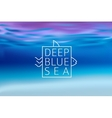 Water blurred background with line sign deep blue vector image