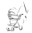 young woman walking with her newborn child baby vector image