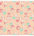 Seamless pattern kittens rabbits vector image
