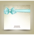 Elegant Christmas greeting card with blue bow and vector image